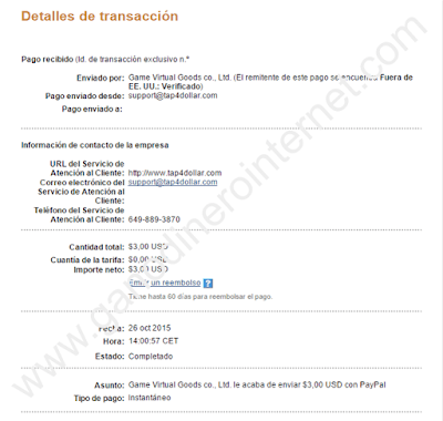 Comprobante de pago de Tap Cash Rewards