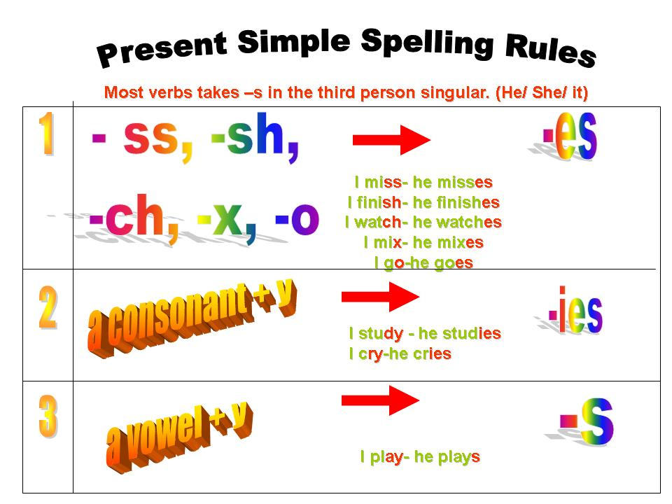 Printable Worksheets third person singular worksheets : Miss Ale 's 5th grade class: SPELLING RULES FOR THE SIMPLE PRESENT ...