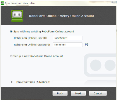 RoboForm Free Pro 2.8 - Verify Online Account
