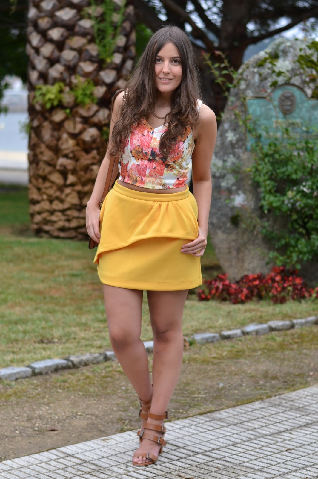 Floral crop top, celop mustard skirt