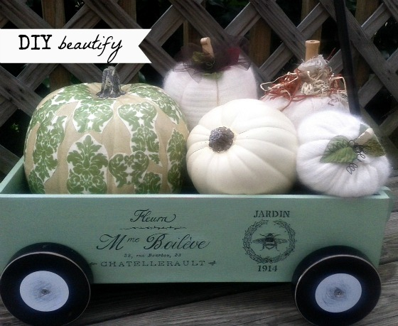 Upcycling a red toy wagon into a French-styled one at www.diybeautify.com