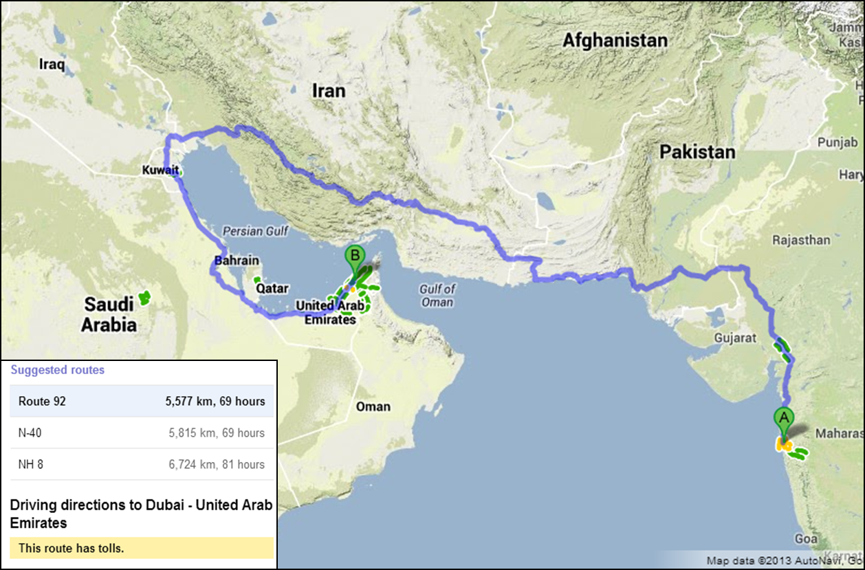 Tech on hand my dream road trip from mumbai to dubai image courtesy vaibhav kulkarni map google maps gumiabroncs Image collections
