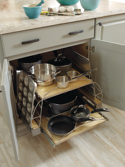 Organized cupboard to hold pots and pans and more :: OrganizingMadeFun.com