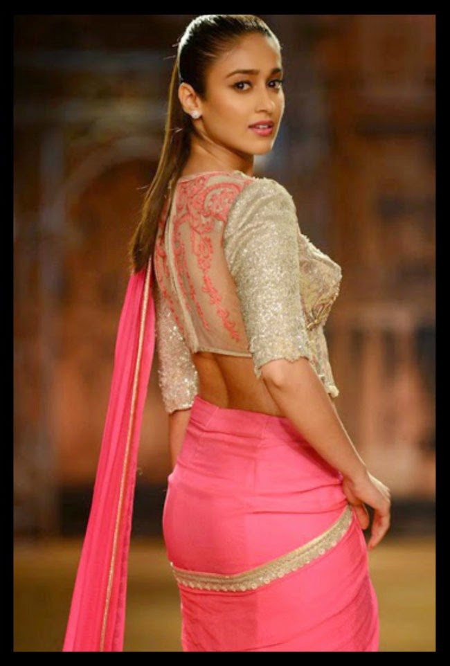 Ileana D'cruz in Sheer Neck Blouse Design