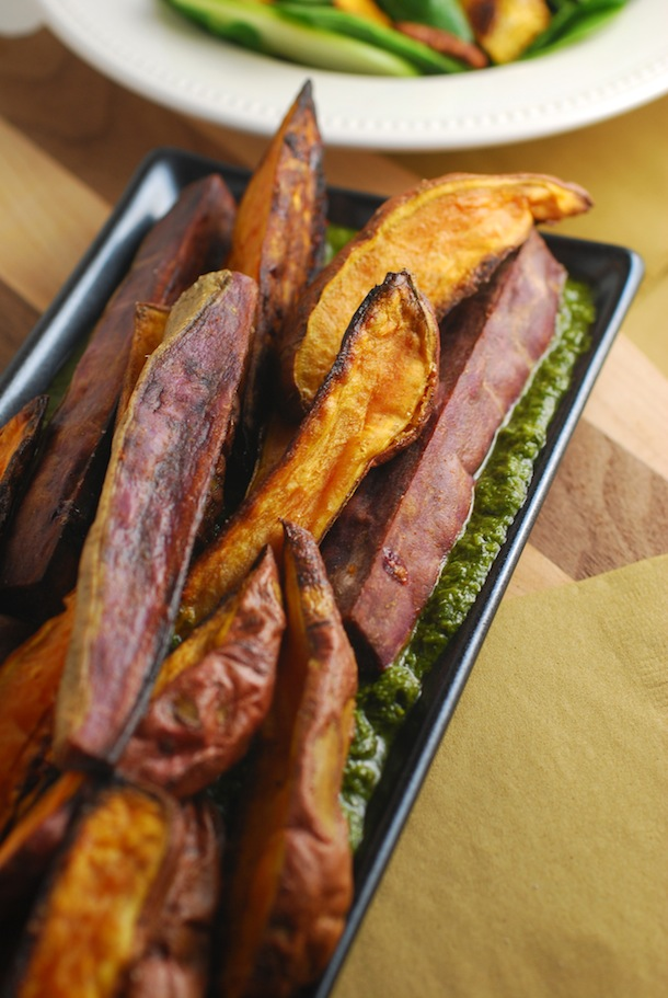 Roasted Sweet Potatoes with Italian Salsa Verde - Always Order Dessert