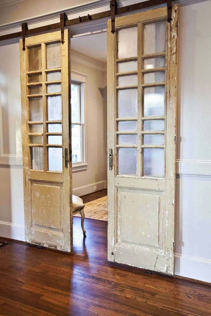 Tin roof farmhouse five faves for friday barn doors for Sliding glass door to french door