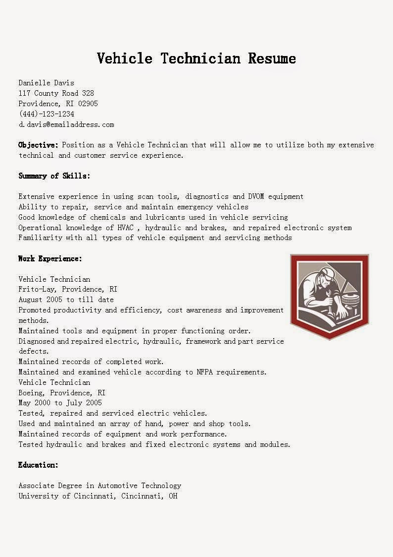 resume samples  vehicle technician resume sample