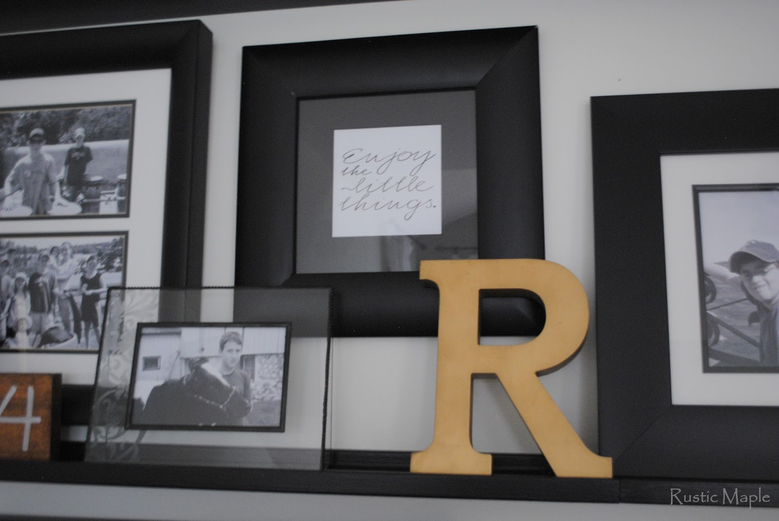 Rustic Maple: Family Room Gallery Wall With Picture Ledges