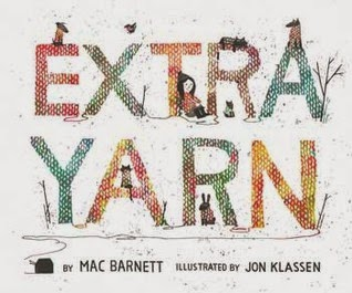 Book cover: Extra Yarn by Mac Barnett, illustrated by Jon Klassen. Image depicts a little girl knitting and sweater-wearing animals amid the letters of the title, which are textured with the V shapes of Stockinette knitting