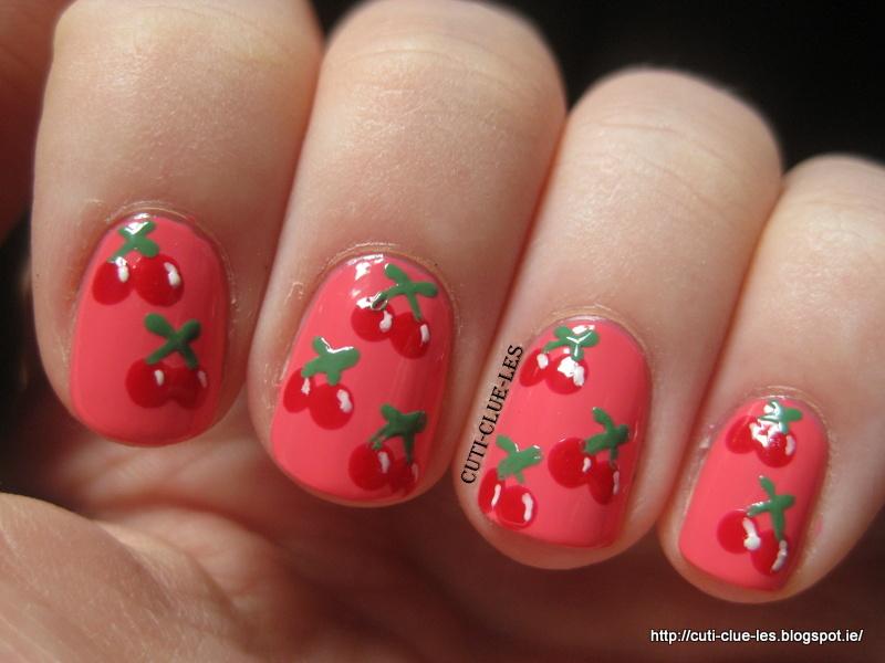 Twinsie Tuesday- Cherry nail art - Cuti-CLUE-les: Twinsie Tuesday- Cherry Nail Art