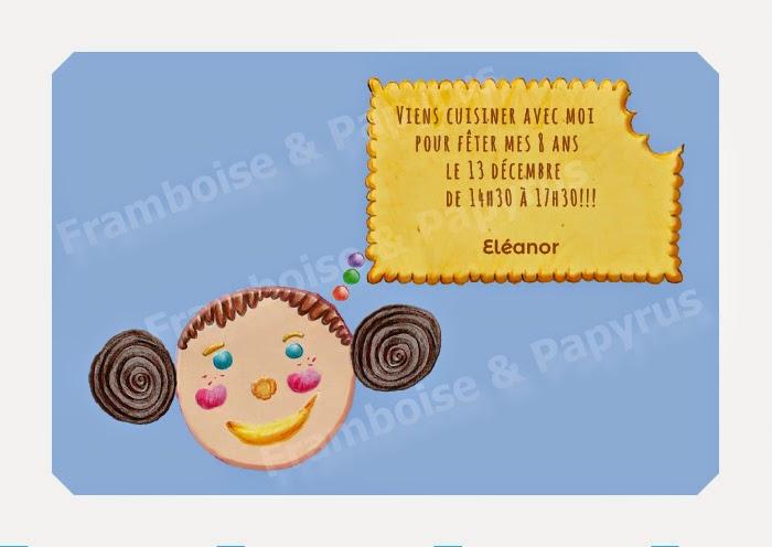 Invitation à un atelier cuisine pour un anniversaire d'enfant