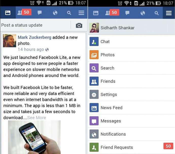 Antarmuka aplikasi facebook lite: Ringan, cepat dan hemat kuota