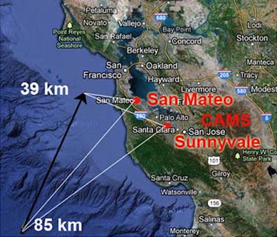 Trayectoria asteroide en bahía de San Francisco, 17 de Octubre 2012