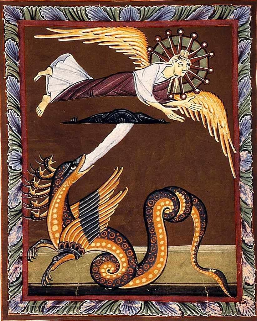 A mulher foge do dragão para o Ocidente. Bamberg Apocalypse Folio 031.