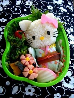 Tartera Hello Kitty hechos con comida