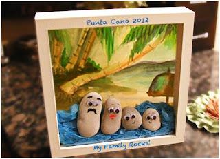 Μια οικογένεια φτιαγμένη από βότσαλα-καδράκι diy