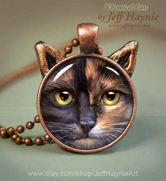 27-Tortie-Cat-Necklace-Jeff-Haynie-Cats in Drawings-Paintings-and-Jewelry-www-designstack-co