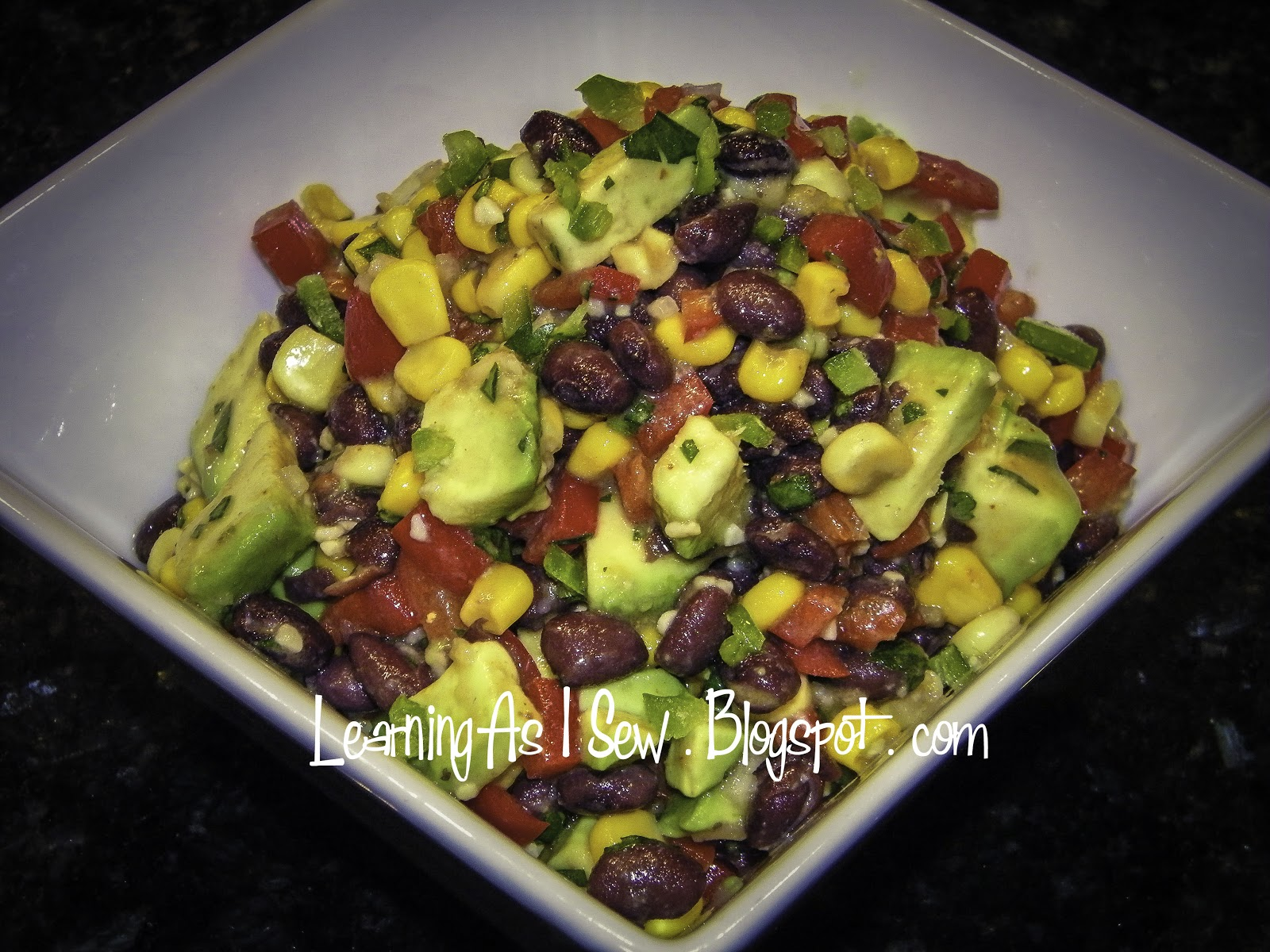 ... Black Bean Salad with Corn, Red Peppers, Avocado, Jalepeno & Lime