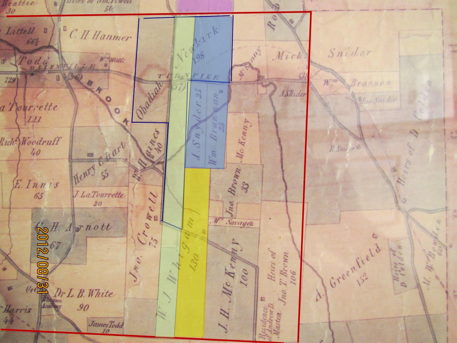 1862 map with 1783 wood green 1771 wood yellow and 1760 perry blue deed information the estimate of the campbell property is in purple at the very