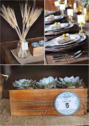 Decoração das bodas de madeira
