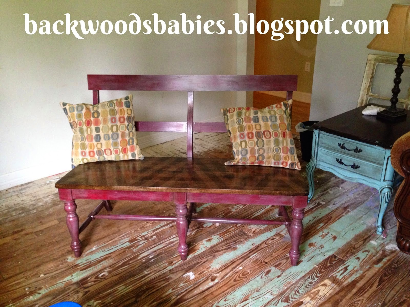 Backwoods Babies shared her Bench Makeover featured at One More Time Events.com