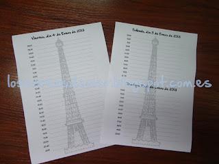 Páginas de agenda modelo París