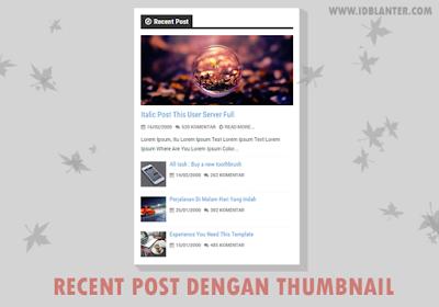 Recent Post dengan Thumbnail dan Efek