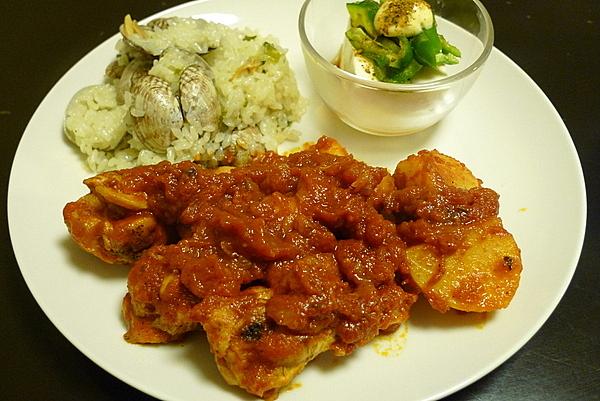 スペイン風「鶏のトマト煮」と「アサリごはん」