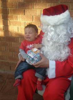 Baby afraid of Santa