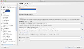 ADF Mobile Platforms on JDeveloper's Preferences