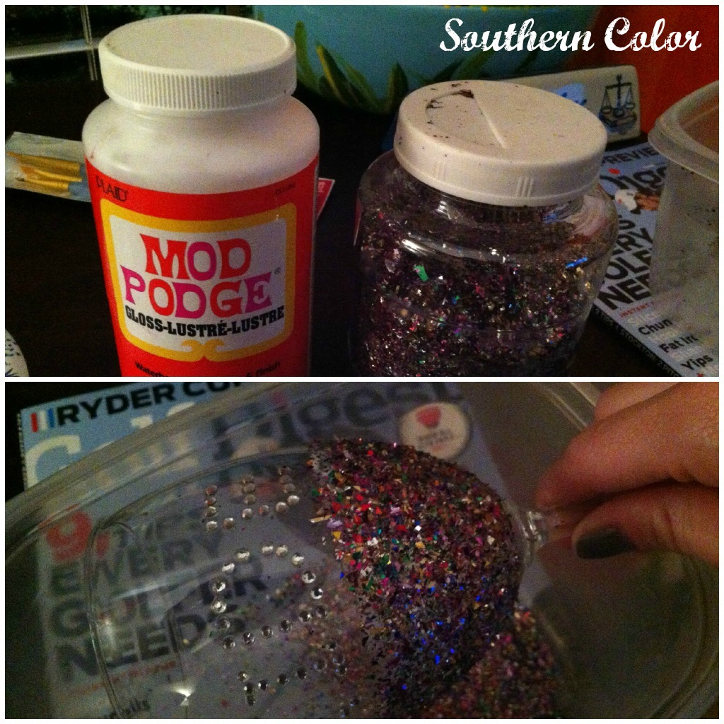 southern color modge podge glitter wine glass