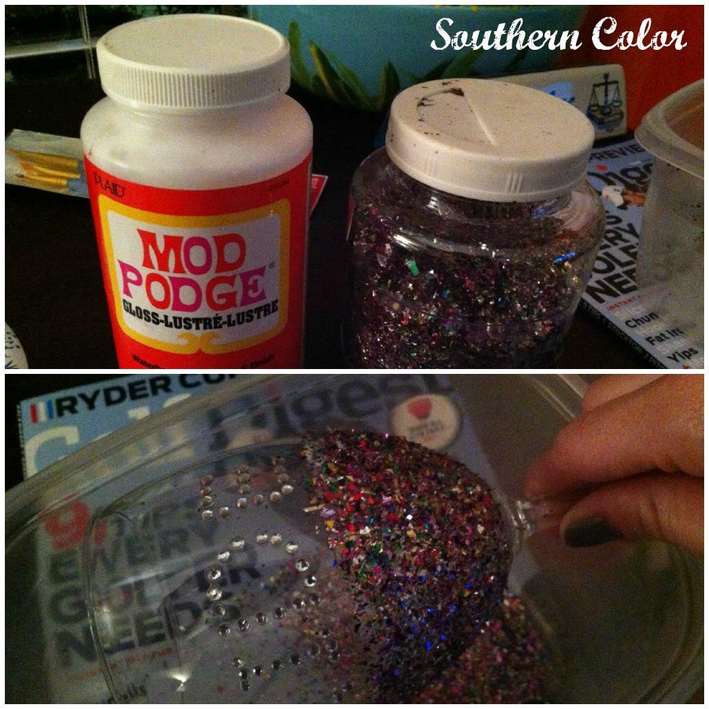 southern color modge podge glitter wine glass