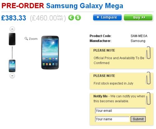 Prime indicazioni con i prezzi in prevendita dei nuovi phablet Galaxy Mega di Samsung