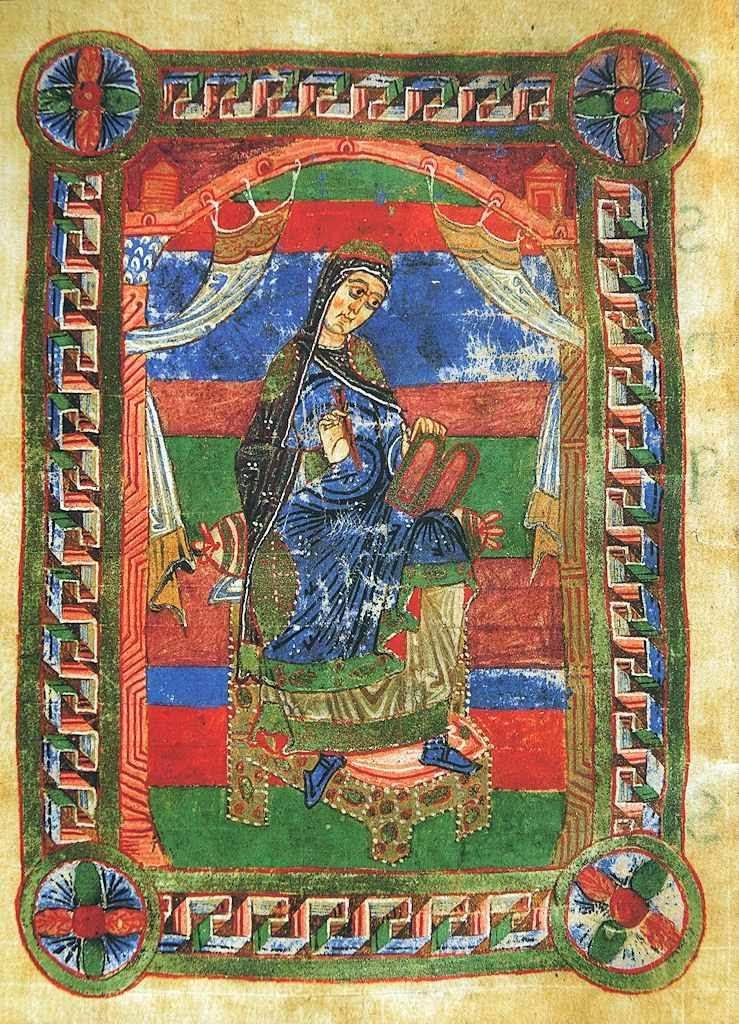 Soror Baldonivia escrevendo. Vida de Santa Radegunda, século XII. Mediateca François Mitterrand, Poitiers