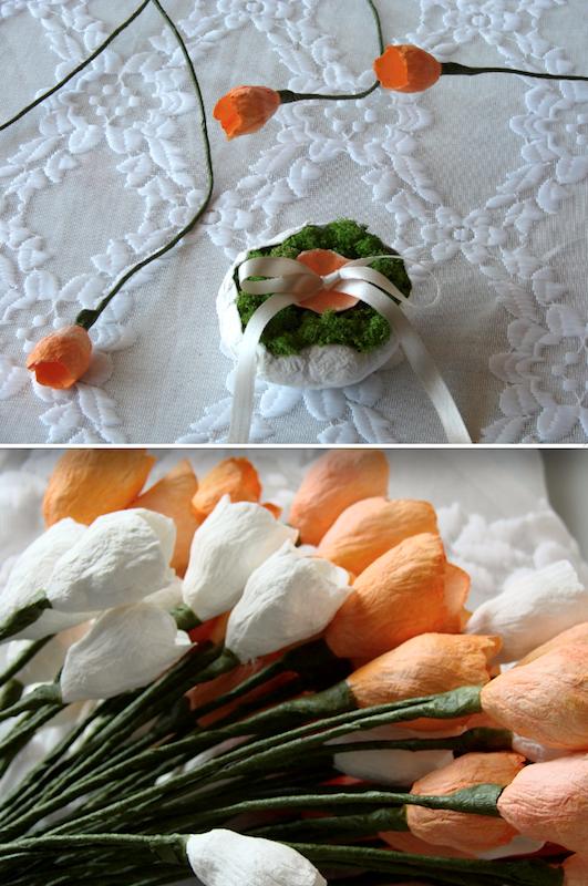 fiori di carta arancio e bianchi
