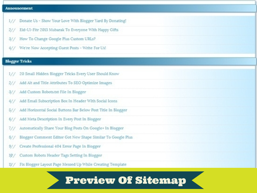 How to Create HTML Sitemap Page In Blogger Blog?