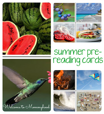 FREE Summer themed prereading cards for toddlers and preschoolers by Welcome to Mommyhood #ReadingActivities, #toddleractivities, #montessoriactivities