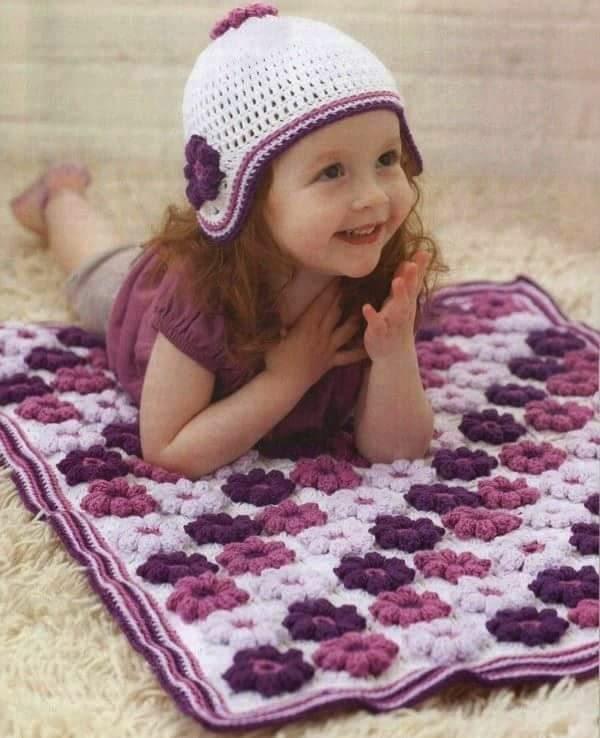 Patrones crochet de manta y gorrito de nena | Crochet y Dos agujas ...
