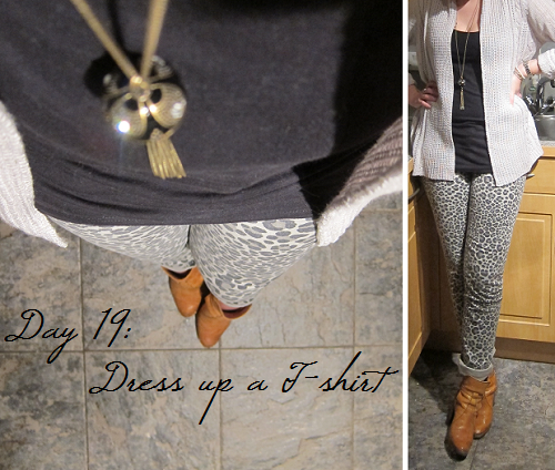 Day 19: Dress up a t-shirt (leopard-print jeans)