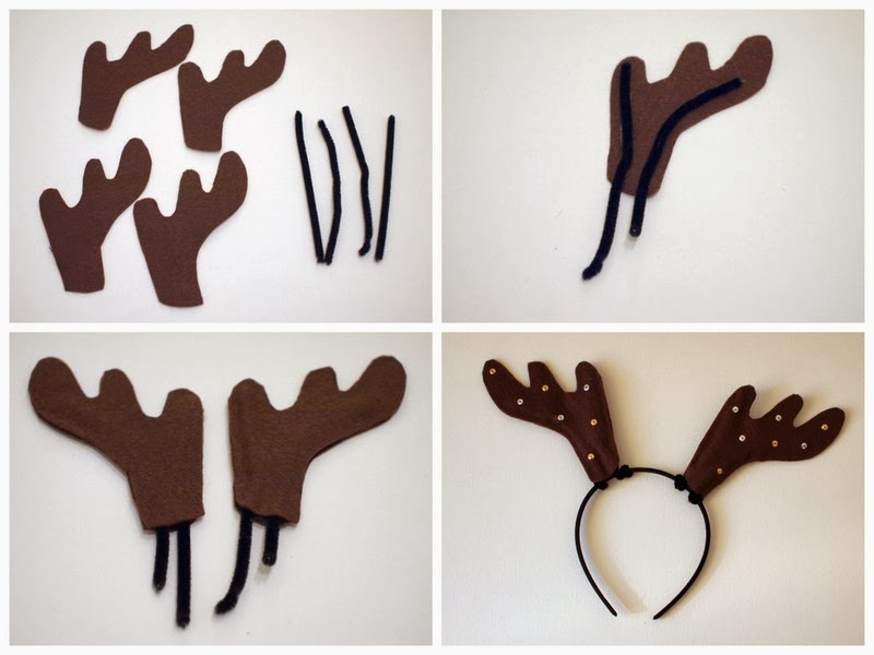 Diy reindeer antler headbands pink stripey socks how to make felt antler headbands solutioingenieria Gallery