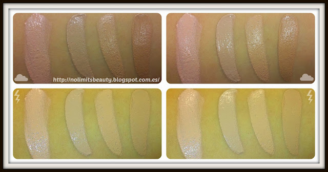 Whipped Creme de Max Factor: de derecha a izquierda - 47 Blushing Beige, 50 Natural, 55 Beige y 77 Soft Honey