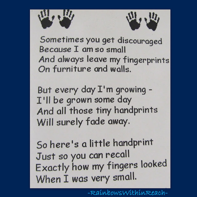 Handprint poem for Preschool Keepsake