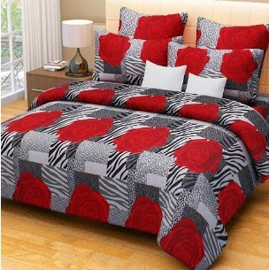 Home Candy 100% Cotton Double Bed Sheet with 2 Pillow Covers