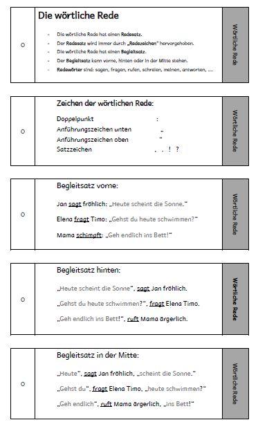 Wörtliche Rede Begleitsatz Zeichensetzung lernen Deutsch