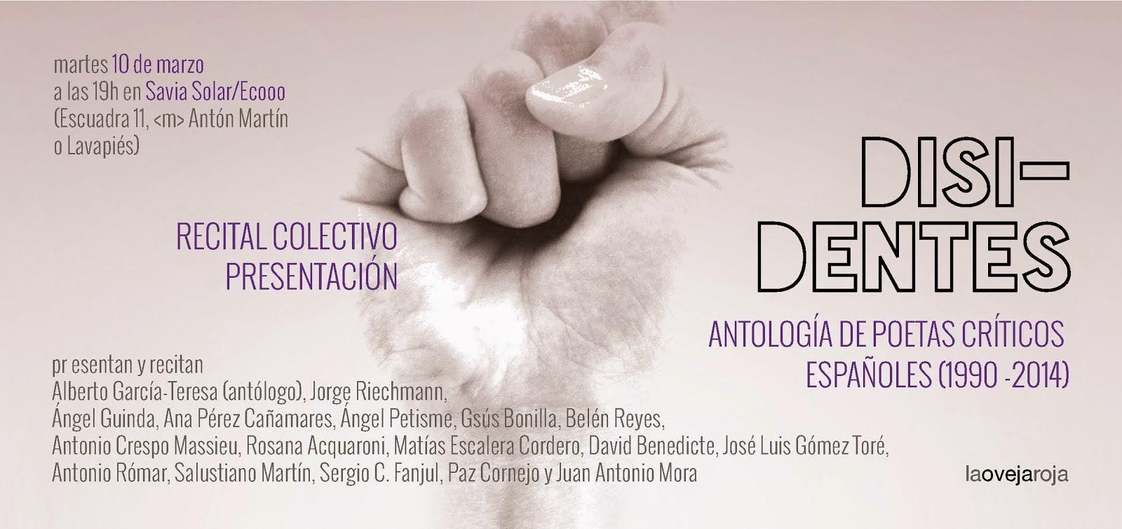 Presentación de Disidentes. Antología de poesía crítica