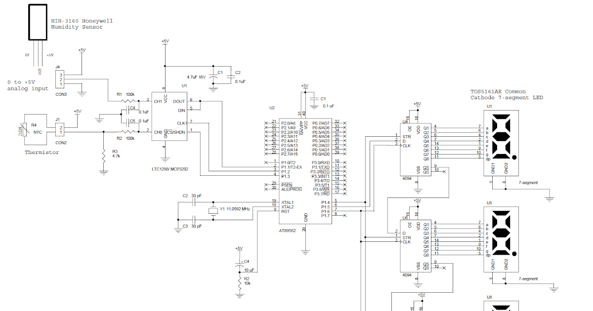 wiring schematic diagram  thermometer based on mikrokontroler at89s52