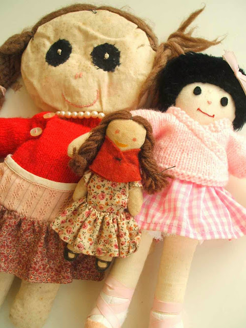 handmade calico dolls made with my mum over thirty years ago