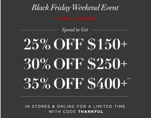 Club Monaco Black Friday Weekend Event Up To 35% Off Promo Code