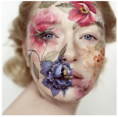 pretty floral make up. beauty shot.