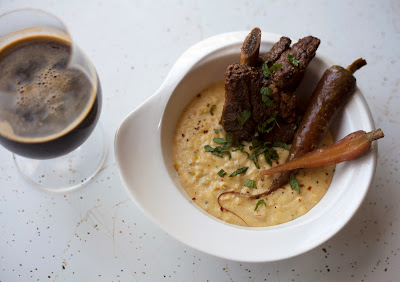Espresso Stout Braised Short Ribs over Pt. Reyes Blue Grits